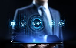 ERP Enterprise resources planning system software business technology. stock images