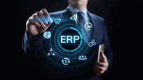 ERP Enterprise resources planning system software business technology. royalty free stock photography
