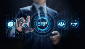ERP Enterprise resources planning system software business technology. royalty free stock image