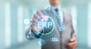 ERP Enterprise resources planning system software business technology. stock photos
