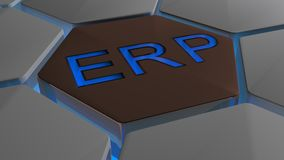 ERP on futuristic hexagons in blue backlight Stock Photography