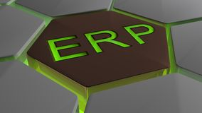 ERP on futuristic hexagons in green backlight Stock Image