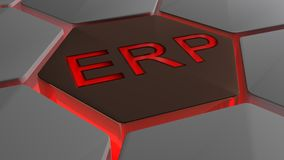 ERP on futuristic hexagons in red backlight Royalty Free Stock Photography