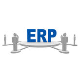 ERP. People around the erp text Stock Photo