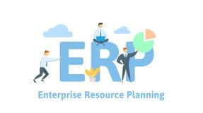 ERP, planeamento do recurso da empresa Produtividade e melhoria Tabela do conceito com povos, letras e ícones liso ilustração stock