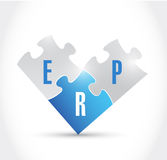 Erp puzzle pieces illustration design. Over a white background Stock Photos