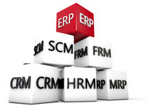 ERP. And relevant Symbolic Cubes over white Background Royalty Free Stock Photo