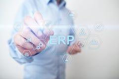 ERP - Risorsa di impresa che progetta concetto di sistema corporativo sullo schermo virtuale immagine stock