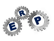 ERP in silver metal gears. ERP, enterprise resource planning systems - 3d letters and silver grey gearwheels, business concept Royalty Free Stock Photo