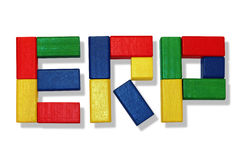ERP Software. Enterprise Resource Planning with wooden toys elements Stock Images