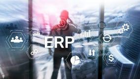 ERP systeem, Ondernemingsmiddel planning op vage achtergrond Bedrijfsautomatisering en innovatieconcept vector illustratie