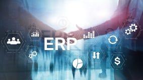 ERP systeem, Ondernemingsmiddel planning op vage achtergrond Bedrijfsautomatisering en innovatieconcept stock illustratie