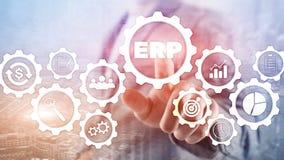 ERP systeem, Ondernemingsmiddel planning op vage achtergrond Bedrijfsautomatisering en innovatieconcept royalty-vrije illustratie