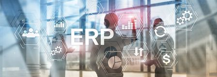 ERP system, Enterprise resource planning on blurred background. Business automation and innovation concept. ERP system, Enterprise resource planning on blurred vector illustration