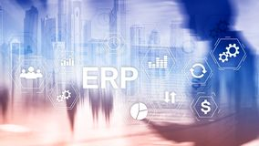 ERP system, Enterprise resource planning on blurred background. Business automation and innovation concept.  royalty free stock photography