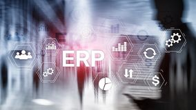 ERP system, Enterprise resource planning on blurred background. Business automation and innovation concept. stock illustration