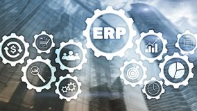 ERP system, Enterprise resource planning on blurred background. Business automation and innovation concept stock images