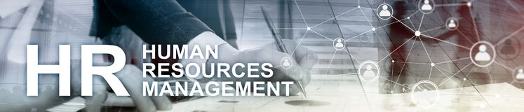 Human resource management, HR, Team Building and recruitment concept on blurred background. Website header banner. ERP system, Enterprise resource planning on royalty free stock photos