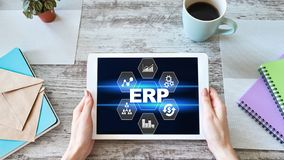 ERP system. Enterprise resources planning. Business process automation. royalty free stock photo