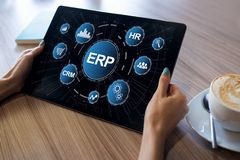 ERP system. Enterprise resources planning. Business process automation. royalty free stock image