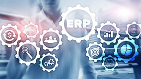 Erp-system, f?retagresursplanl?ggning p? suddig bakgrund Aff?rsautomation och innovationbegrepp stock illustrationer