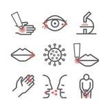 erpete Sintomi, trattamento Linea icone messe Segni di vettore per i grafici di web illustrazione vettoriale