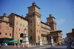 Ferrara,a view of the city`s castle. Errara,Italy In Ferrara in 1385, a dangerous revolt convinced Niccolò II d`Este of the need to erect a powerful defense royalty free stock photo