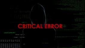 Erreur critique, tentative infructueuse d'entailler le serveur, criminel déçu images stock
