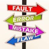 Erreur et imperfections d'erreur de défaut illustration stock