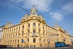 Errichten der Hauptsitze der kroatischen Eisenbahnen in Zagreb lizenzfreie stockbilder