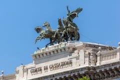 Errichten des Obersten Gerichts der Aufhebung und des Tiber-Flusses in der Stadt von Rom, Italien lizenzfreies stockbild