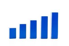Errichten eines wachsenden Finanzdiagramms unter Verwendung des hölzernen Spielzeugs Stockfotografie