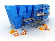 Errichten Sie eine blaue Ikone des Netzes Stockbilder