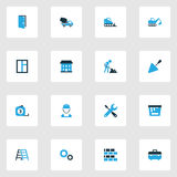Errichtende bunte Ikonen eingestellt Sammlung Wartung, Gräber, Glas und andere Elemente Schließt auch Symbole wie ein Lizenzfreies Stockfoto