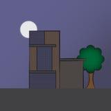 Errichtende Designmoderne Wohnnachtszene Stockbilder