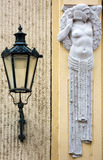 Errichtende Einzelheit Art Nouveaus in Prag, Tschechische Republik Stockfotos