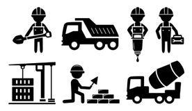 Errichtende industrielle Ikone für Baugewerbe Stockbilder