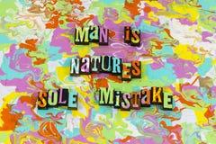 Erro de controle do erro da natureza do homem imagens de stock