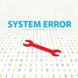 Erro e chave inglesa de sistema em um fundo digital Fotografia de Stock