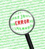 ERRO no vermelho revelado na linguagem-máquina verde do computador Imagem de Stock