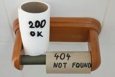 Erro 404 (página não encontrada) e APROVAÇÃO do código de status 200 Imagem de Stock