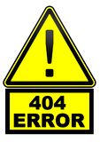 Erro 404 Sinal de aviso ilustração stock