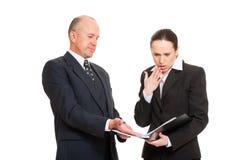 Erro tomado mulher de negócios no relatório Fotografia de Stock Royalty Free