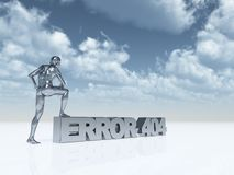 Error 404. Man with one foot on the text error 404 - 3d illustration Stock Photography
