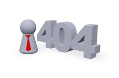 Error 404. Number 404 and play figure with tie - 3d illustration Stock Photos
