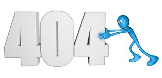 Error 404. Blue guy pushes number 404 - 3d illustration Stock Photo
