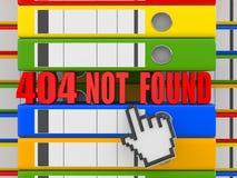 Error 404. Fichero no encontrado. Carpetas Imagen de archivo libre de regalías