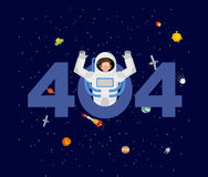 Error 404. astronaut surprise. Page not found template for web s vector illustration