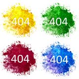 Collection of four watercolor stains blue, red, yellow and green on White Background. Error 404 on the background of watercolor blots stains of red, blue, yellow royalty free stock image
