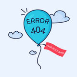 404 error blue balloon. Page not found. 404 error page creative design made in linear style. Blue balloon with a tag flying in the sky. Web site design template Royalty Free Stock Photo